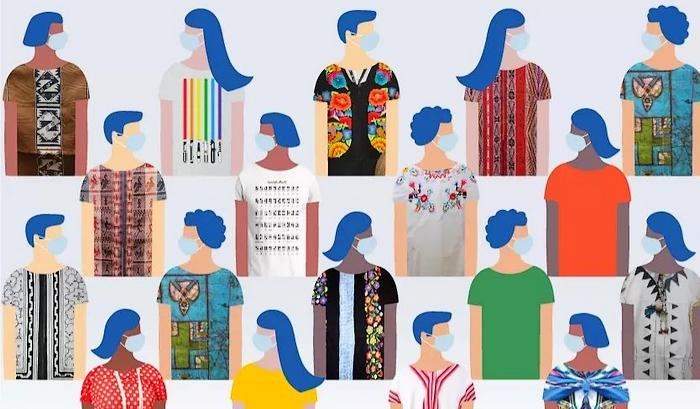 illustration - silhouettes multicolores avec masque